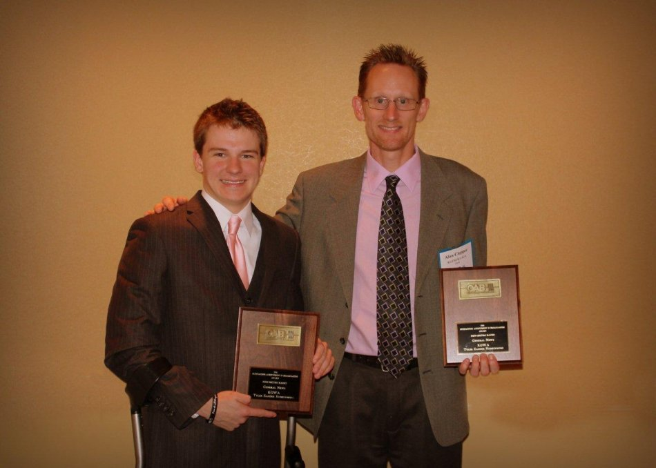 Alan was honored to have Tyler Zander as a guest at the Spring 2012 OAB awards when KGWA received best spot coverage of Tyler's homecoming!